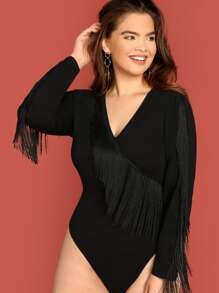 Plus Fringe Detail Form Fitting Bodysuit