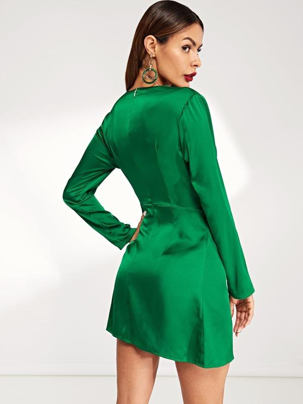 0ff0c7eeb5 Plunge Neck Twist Front Dress | SHEIN UK