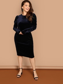 Plus Gigot Sleeve Velvet Bodycon Dress