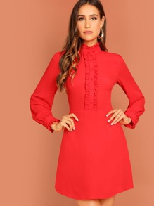 Mock Neck Button Front Frill Trim Dress