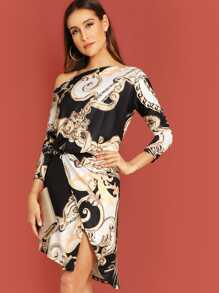One Shoulder Wrap Skirt Baroque Print Dress