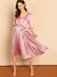 Waist Belted Wrap Pleated Satin Dress