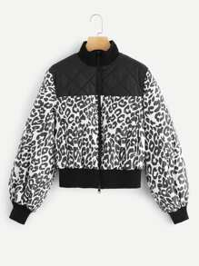 Solid Quilted Yoke Zip Up Leopard Puffer Jacket