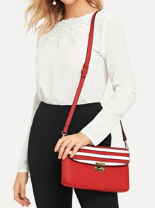 Striped Detail Flap Crossbody Bag