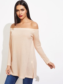 Solid Off Shoulder Textured Blouse