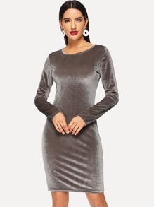 Form Fitting Solid Velvet Dress