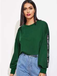 Contrast Letter Tape Drop Shoulder Pullover