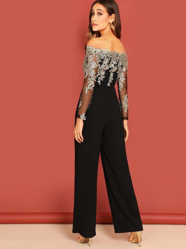 88a1be48b42b Off Shoulder Embroidered Mesh Panel Jumpsuit