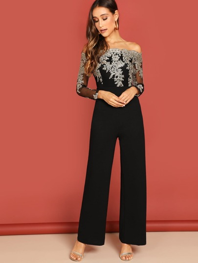 95aba085fd Off Shoulder Embroidered Mesh Panel Jumpsuit