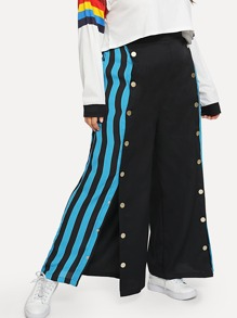 Plus Snap Button Front Striped Palazzo Pants