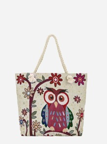Owl Pattern Linen Tote Bag