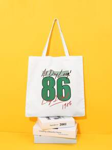Number And Slogan Print Tote Bag
