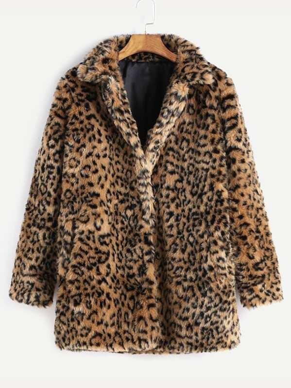 b34d1acb1c Leopard Button Up Faux Fur Coat