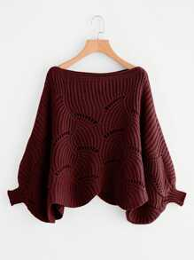 Plus Dolman Sleeve Scallop Hem Eyelet Sweater