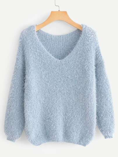 V-Neck Solid Fuzzy Sweater