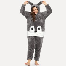 INOpets.com Anything for Pets Parents & Their Pets Plus Rabbit Pattern Plush PJ Set