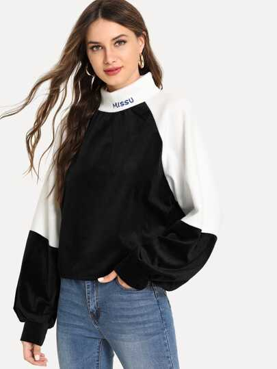 Bishop Sleeve Letter Embroidery Velvet Sweatshirt
