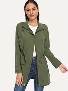 Solid Drawstring Waist Utility Coat