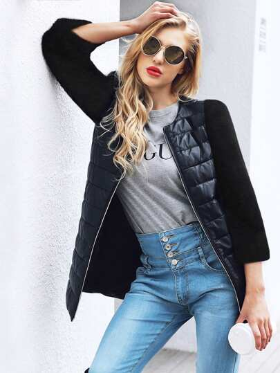 Faux Fur Sleeve  Contrast Pu Solid Coat