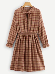 Plaid Tie Neck Dress
