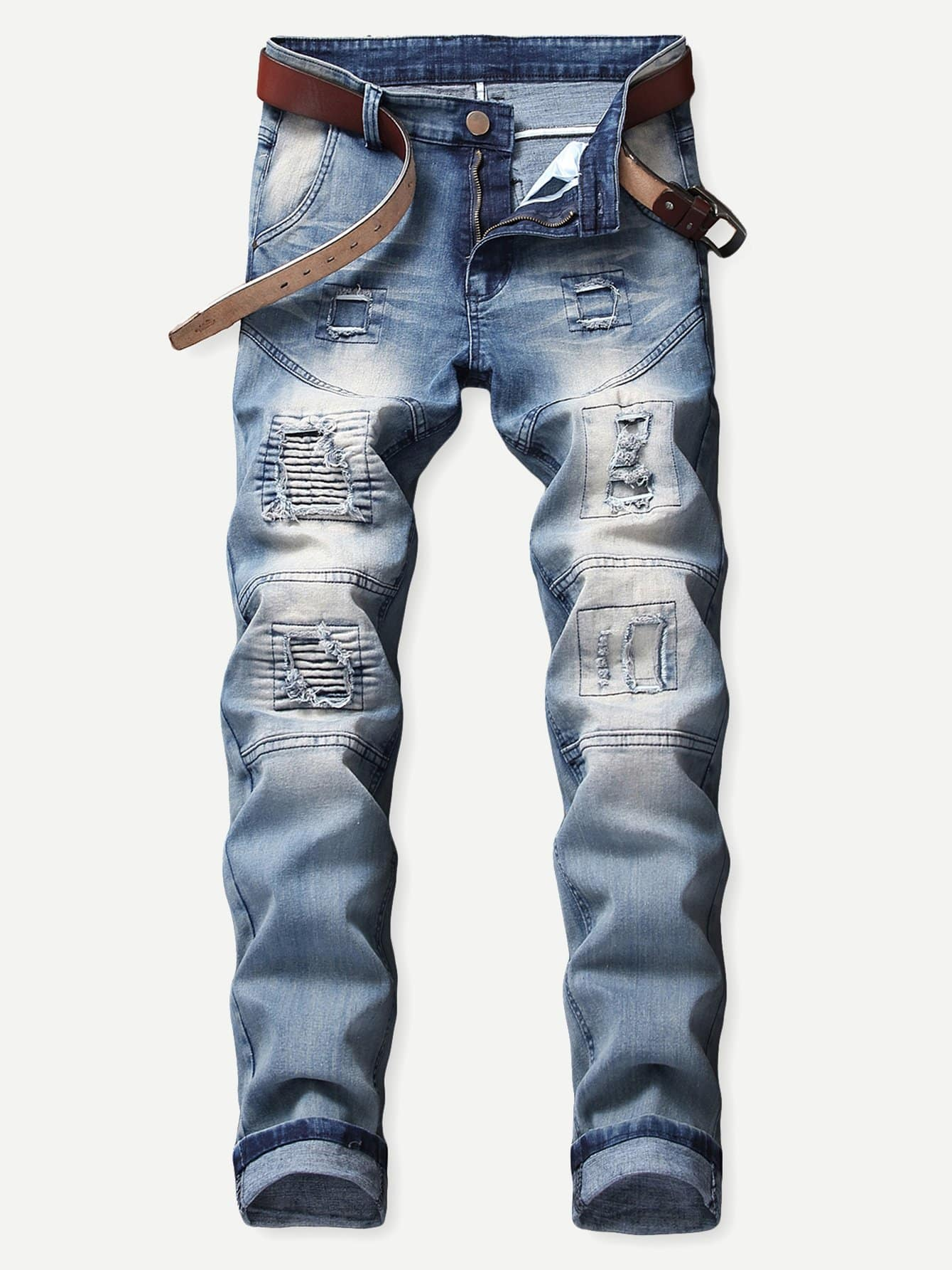 Men Patch & Shirred Detail Jeans Men Patch & Shirred Detail Jeans
