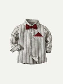 Toddler Boys Bow Tie Striped Shirt