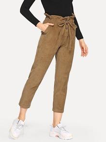 Drawstring Waist Ruffle Corduroy Pants