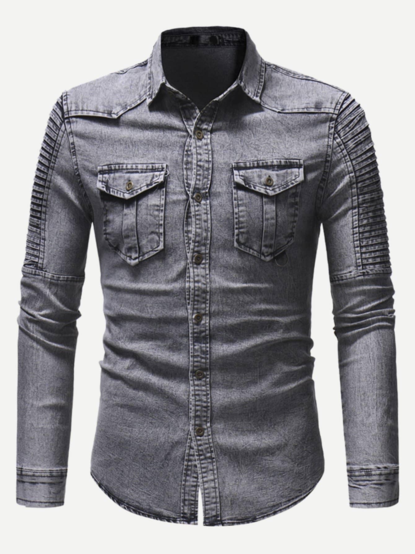 Men Shirred Detail Solid Denim Shirt Men Shirred Detail Solid Denim Shirt