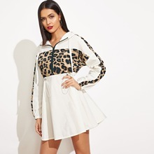 Image of Leopard Panel Drawstring Waist Hooded Windbreaker Dress