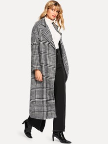 Houndstooth Print Long Coat