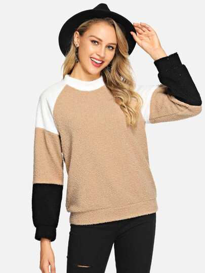 Cut And Sew Panel Teddy Sweatshirt pictures
