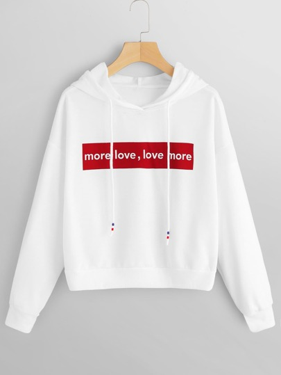 Letter Graphic Drawstring Detail Hooded Sweatshirt