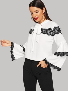 Tie Neck Contrast Lace Layered Sleeve Blouse