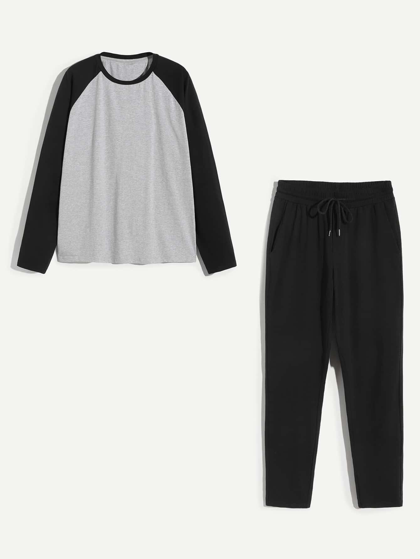 Men Raglan Sleeve Tunic Pajama Set Men Raglan Sleeve Tunic Pajama Set