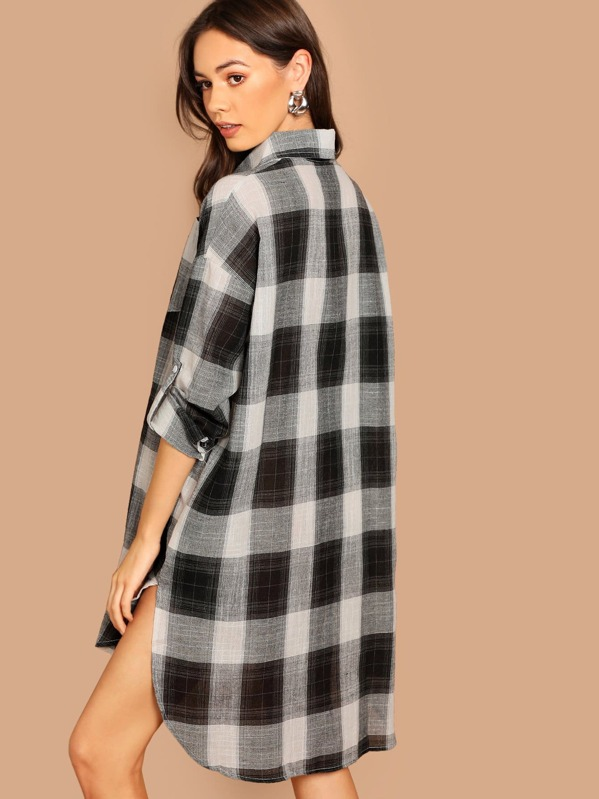 944926904136 Cheap Roll Tab Sleeve High Low Plaid Shirt Dress for sale Australia | SHEIN