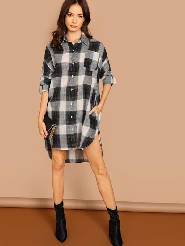 5fcc8fb7201d Cheap Roll Tab Sleeve High Low Plaid Shirt Dress for sale Australia ...