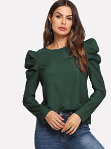 Puff Sleeve Button Keyhole Top