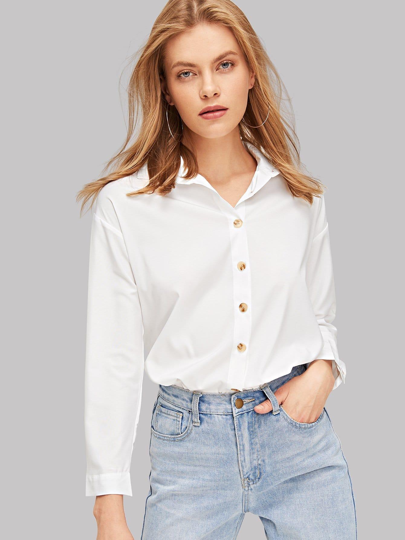 SHEINSolid Button Up Shirt