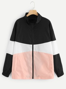 Plus Colorblock Zip Up Jacket