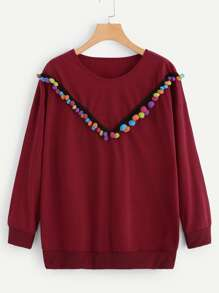 Plus Pompom Embellished Sweatshirt