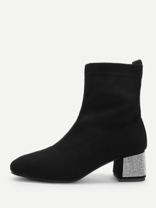 Suede Chunky Heeled Boots