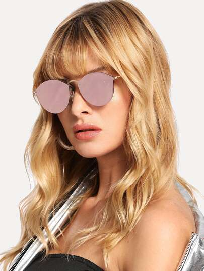 Mirror Lens Metal Frame Sunglasses