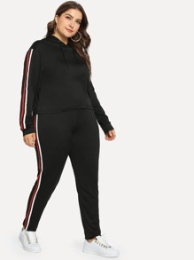 Plus Striped Side Hoodie and Pants Set