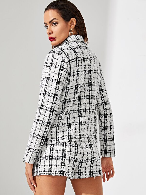 f4c6dcd9c7 Notch Collar Button Up Tweed Coat and Shorts Co-ord | SHEIN UK