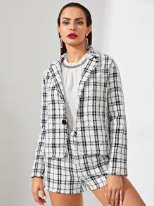 Notch Collar Button Up Tweed Coat and Shorts Set