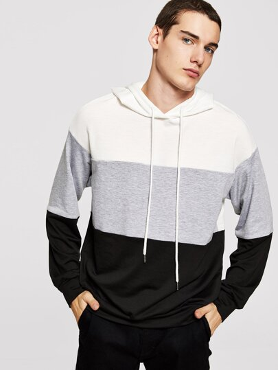 Men Cut and Sew Drawstring Hoodie