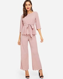 Tie Waist Scallop Trim Peplum Top and Pants Set