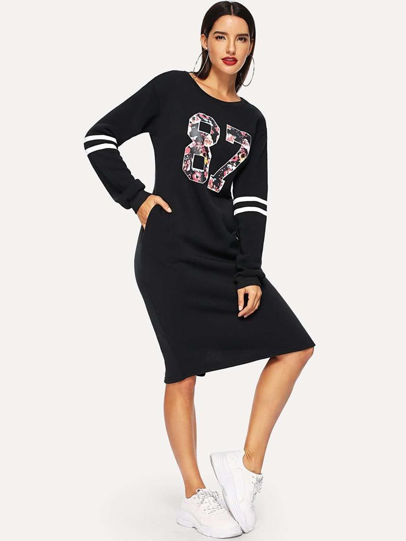 755185c2c269f0 Sweatshirt Kleid mit Reißverschluss Baseball Druck-schwarz | ROMWE