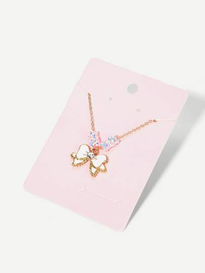 Girls Bow Charm Necklace