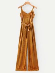 Self Tie Velvet Jumpsuit